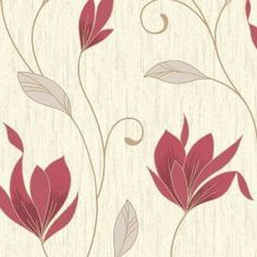 Vymura Synergy Glitter Floral Wallpaper Rich Red, Cream, Gold - Wallpaper from I Love Wallpaper UK Vinyl Wallpaper, Teal Wallpaper, Glitter Wallpaper, Paper Wallpaper, Striped Wallpaper, Wallpaper Borders, Luxury Wallpaper, Beautiful Wallpaper, Pretty Wallpapers