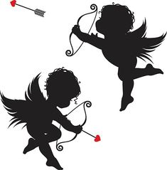 Cupid in two positions firing his arrow on Valentines day Baby Angel Tattoo, Baby Tattoos, Skull Tattoos, Foot Tattoos, Sleeve Tattoos, Cupid Drawing, Angel Silhouette, Alien Drawings, Flower Tattoo Foot