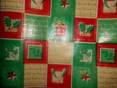 Vtg Christmas Wrapping Paper Gift Department Store Roll MISTLETOE-RED GREEN