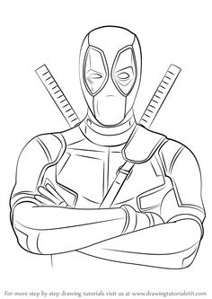 Learn How to Draw Deadpool (Deadpool) Step by Step : Drawing Tutorials