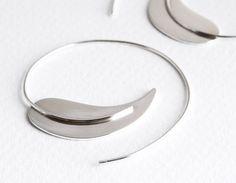 SALE 20% OFF, Large Sterling Silver Leaf Hoop Earrings, Sterling Leaf Earrings, Contemporary, Minimalist, Clean Lines, Israel – was 105 USD