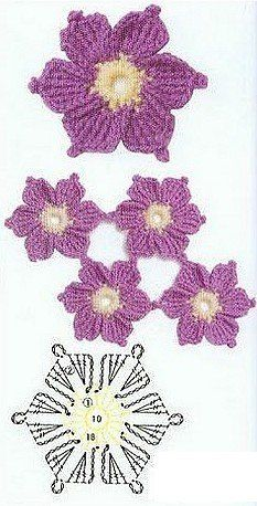 6 petal crochet flower