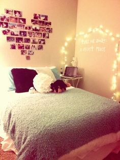 Original idea:) Looks plain though.. Quote and lights above bed with pics on wall it faces?