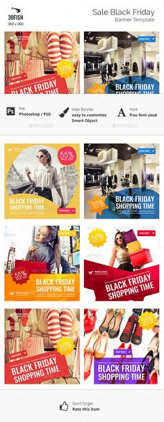 Sale Black Friday Web Banners Template PSD #design Download: http://graphicriver.net/item/sale-black-friday/13590973?ref=ksioks