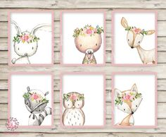 6 Deer Fox Bunny Rabbit Bear Owl Raccoon Boho Wall Art Print Woodland Bohemian Floral Nursery Baby Girl Room Set Lot Prints Printable Decor