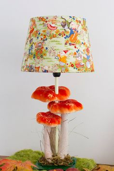 Woodland nursery orange mushroom lamp with by BabesintheWoodsShop