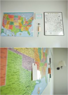 from the nato's: attic renovation. instead of a guest book, we did a guest map. guests pin their location and date.