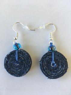 Jeans recycled earrings / tassel earrings / casual denim earrings by ByDashka on Etsy #jeansearrings #upcycledjeans #recycledjeans # sustainablefashion