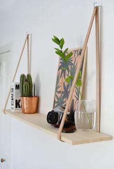 DIY: hanging leather shelf