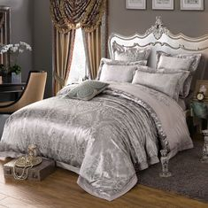 Hessian Satin Jacquard Four-Pieces Bedclothes Cotton Sheets Bedding 4 Cotton Bedding Sets, King Bedding Sets, Comforter Sets, Teen Bedding, Duvet Bedding, Sheets Bedding, Luxury Duvet Covers, Luxury Bedding Sets, Silk Bed Sheets