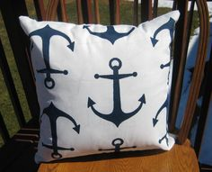Pillow cover anchors Patia decoroutdoor by DesignsByWillowcreek Old Pillows, Cushions, Throw Pillows, Anchor Pillow, Outdoor Cushion Covers, Indoor Outdoor Living, Outdoor Decor, Beach House Decor, Home Decor