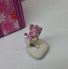 Vintage Ringe - Ring 925 Silber mit rosa Kristallen Vintage SR632 - ein Designerstück von Atelier-Regina bei DaWanda