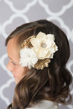 Gold and ivory hair bow - La Bella Rose Boutique. Girl's hairstyles, flower girl hair, hair bows, flower hair bow, flower hair clip, gold bows