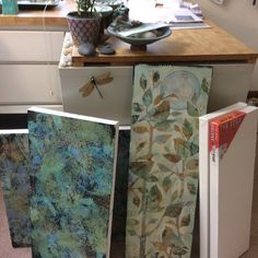Sue Davis , Fort Wayne, Indiana Space Painting, Painting Studio, Mixed Media Canvas, Mixed Media Art, Butterfly Wall Art, Middle School Art, Mix Media, Mark Making, Cabinet Doors