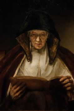 Portrait of an Old Woman Reading by Rembrandt van Rijn Reading Art, Woman Reading, Reading Books, Leiden, Rembrandt Paintings, Rembrandt Art, List Of Paintings, National Gallery, Dutch Golden Age
