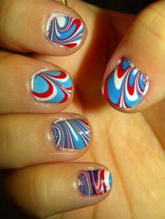 patriotic marbelized nails