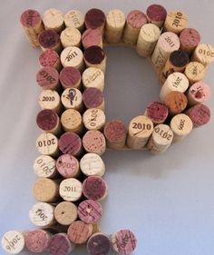 "Letter ""P"" recycled wine cork monogram Wine Cork Monogram, Wine Cork Letters, Wine Cork Art, Wine Cork Crafts, Diy Letters, Letter A Crafts, Bottle Crafts, Champagne Cork Crafts, Wine Cork Projects"