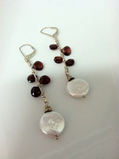 long garnet and coin pearl earrings by simpletreasure on Etsy, $65.00