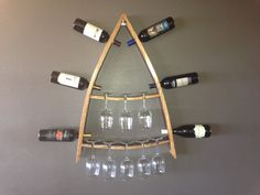 Wine Bottle and Glass Rack made rom Wine Barrel by AWineofaKind, $100.00