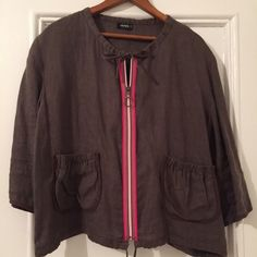 French Linen Jacket Adorable brown linen jacket with multi-colored grosgrain zipper front, drawstrings at waist and neckline, 2 gathered patch pockets on front,3/4 sleeves. ❓Anyone know this brand❓I also have a purple skirt same brand. Great designs. I don't see size on tag, but fits medium. Made in France per tag. Jackets & Coats