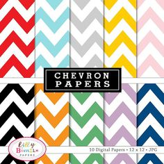Chevron Digital papers for cards invites by LillyBimble on Etsy, $5.00