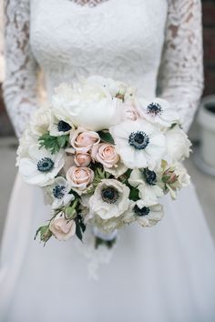 Anemone and pink rose bouquet | Photo by Nine Zero Three Photography, Floral Design by Creations by Lynn