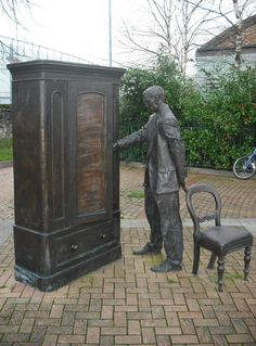Statue of C.S. Lewis, Narnia author, with the wardrobe, Holywood Road, Belfast