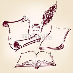 papel viejo pergamino en blanco y pluma de la pluma