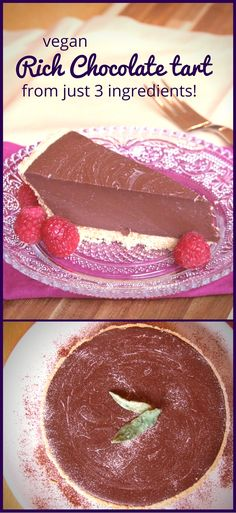Vegan rich chocolate tart from 3 ingredients! - Family-Friends-Food