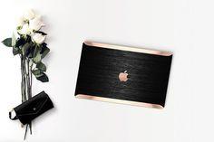 Platinum Edition Brushed Black Metallic with Rose Gold/Copper Edge Detailing Hybrid Hard Case for Apple Macbook Air & Mac Pro 13 Retina