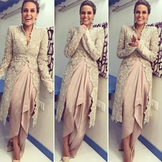 "Neha Dhupia in an outfit by Anamika Khanna in Mumbai. She was promoting her upcoming movie ""Moh Maya Money"" on a talk show Anamika Khanna, Indian Attire, Indian Wear, Pakistani Dresses, Indian Dresses, Indian Clothes, Look Short, Indian Wedding Outfits, Indian Outfits Modern"