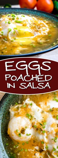 The literal translation of Huevos Ahogados is drowned eggs. In this case, eggs drowned in fresh Tomato-Jalapeno salsa. Mexican Breakfast Recipes, Mexican Food Recipes, Ethnic Recipes, Jalapeno Salsa, Hispanic Kitchen, Bacon Egg, How To Make Breakfast, Morning Food, Poached Eggs