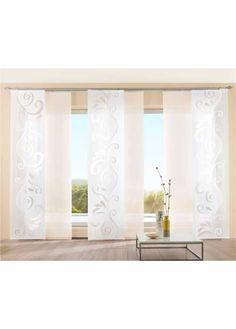"""Jetzt anschauen: Mit der Schiebegardine """"Romantica"""" lassen sich Fenster zum dekorativen Blickfang verwandeln. Das romantische Design mit verspielter Scherli-Musterung passt in nahezu jede Einrichtung. Der Flächenvorhang in halbtransparenter und pflegeleichter Qualität wird mit einer Beschwerungsstange im Saum versehen, sodass der Stoff tadellos glatt am Fenster hängt. Mit der Schiebegardine """"Romantica"""" lassen sich Raum und Fenster auf individuelle Weise bereichern."""