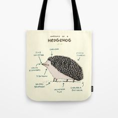 Buy Anatomy of a Hedgehog Tote Bag by sophiecorrigan. Worldwide shipping available at Society6.com. Just one of millions of high quality products available.