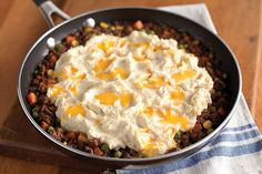 VELVEETA Shepherd's Pie Skillet - If you like shepherd's pie and you like easy skillet dishes—well, you'll like this recipe. Ground beef, cheese, corn and taters, all in one pot! For more Endless Gold recipes visit velveeta.com