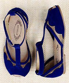 This Ultramarine Blue Stella T-Strap Sandal & Hair Clip - Kids is perfect! #zulilyfinds