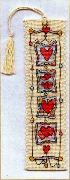 Knitting, crochet, embroidery, sewing and tons of inspiration for your next project. Cross Stitch Boards, Cross Stitch Bookmarks, Cross Stitch Heart, Embroidery Applique, Cross Stitch Embroidery, Cross Stitch Designs, Cross Stitch Patterns, Michael Powell Cross Stitch, Heart Bookmark