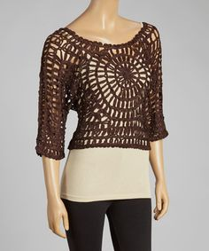 Look what I found on #zulily! Coffee Open-Crochet Silk-Blend Top #zulilyfinds