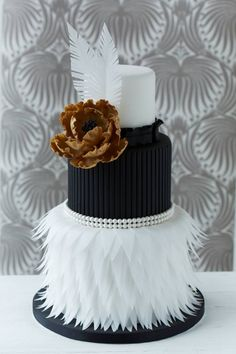 A great Modern Luxe wedding cake. Black, white and bronze with beautiful texture. Modern, minimalist and luxurious. Cake: Zoe Clark Cakes