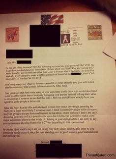 The worst fat shaming letter you will ever read.