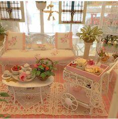 🌸☕️🥞🥓Happy Sunday, breakfast in the miniature garden room😊🌸 -