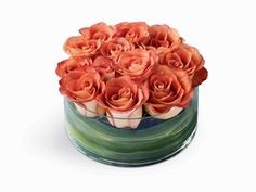 Soft Persuasion Arrangement - One dozen captivating Leonidas roses are cut short and arranged in a round glass candleholder.