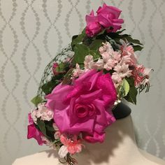 Pink Silk Floral Ladies Hat by Coquette by PurpleIrisVintage on Etsy