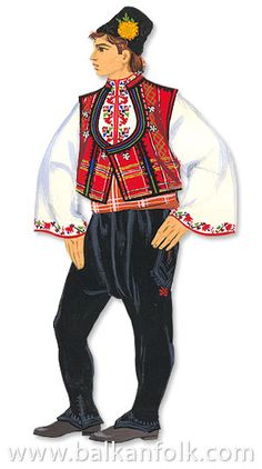 Traditional festive costume from Bulgarian Thrace.  Clothing style: 1900-1950.