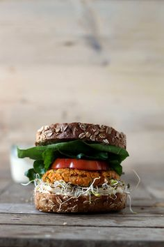 pumpkin burger with halloumi