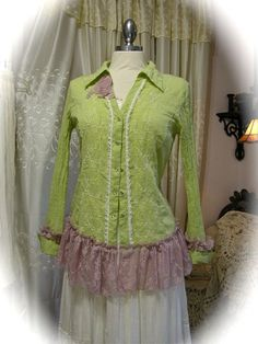 Refashioned Blouse Shirt, upcycled recycled clothing with tattered ...