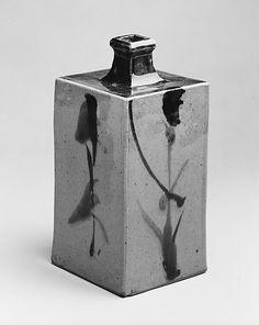 Bottle with Abstract Orchids Hamada Shōji  (Japanese, 1894–1978) Period: Shōwa period (1926–89) Date: ca. 1960 Culture: Japan Medium: Stonew...