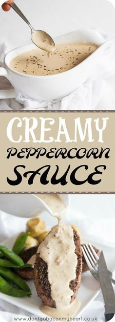 A Creamy Peppercorn Sauce couldn't be more simple and delicious to make! This Peppercorn Sauce without brandy is about to be your go-to sauce for steak, chicken, portobello mushrooms, potatoes and everything between! #pepper #creamy #sauce | www.dontgobaconmyheart.co.uk