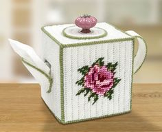 Teapot Tissue Box Cover Plastic Canvas Kit. This cute rose teapot boutique tissue box cover will be a great conversation piece in any room. Includes ceramic knob. Kit Includes: All components to make as shown. | eBay!