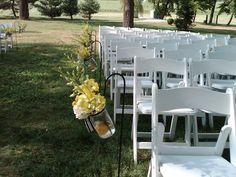 Shepherd's hook with large mason jar #MyWeddingFlowers, #WeddingCeremonyDecorations www.myweddingflowers.us